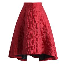 Chicwish Full Glam Embossed Waterfall Skirt in Red ($51) ❤ liked on Polyvore featuring skirts, red, holiday skirts, fancy skirts, red knee length skirt, cocktail skirts and red tulip skirt