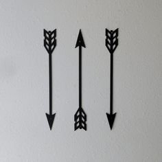 These arrows are made from plasma cut 16 gauge sheet steel. This sale is for one set of three (3)  Several sizes are available.  Painted with