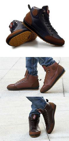 release date: 5529e beed1 IF FEEL Leather Ankle Boots Casual Lace-up Male Sneakers