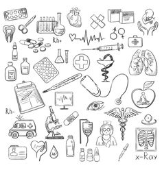 Health care and medicine doodle vector by Netkoff on VectorStock®