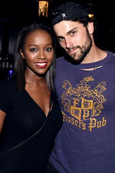 Aja Naomi King and Jack Falahee attend a private event at Hyde Staples Center hosted by AQUAhydrate for the Drake and Future concert on September 2016 in Los Angeles, California. Interracial Couples, Interracial Dating Sites, Black Woman White Man, Black Love, Black Men, White Women, Black Girls, Mixed Couples, Cute Couples
