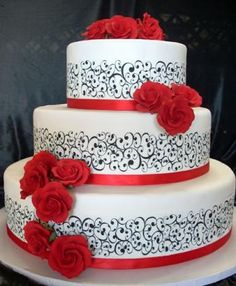 From The Unusual Wedding Cakes Catalog Of The French Gourmet French Wedding Cakes, Unusual Wedding Cakes, French Cake, Black Wedding Cakes, Beautiful Wedding Cakes, Beautiful Cakes, Red And White Weddings, Wedding Sweets, Wedding Cake Designs