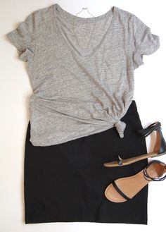 10 Ways To Wear A Black Skirt - Outfit 2