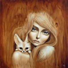 size: Stretched Canvas Print: Huli Jing by Mandy Tsung : Entertainment Using advanced technology, we print the image directly onto canvas, stretch it onto support bars, and finish it with hand-painted edges and a protective coating. Art And Illustration, Portrait Paintings, Portrait Art, Art Paintings, Surreal Portraits, Fox Art, Painting Edges, Stretched Canvas Prints, Art Drawings
