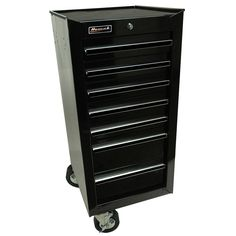 Homak Professional 17 in. 7-Drawer Side Cabinet, Black, Podwer Coat