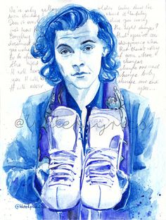 """Harry styles watercolour portrait with """"night changes"""" lyrics one direction Harry Styles Dibujo, Harry Styles Drawing, Harry Styles Face, One Direction Fan Art, One Direction Drawings, Night Changes, Harry Styles Imagines, Beautiful Drawings, Frames"""