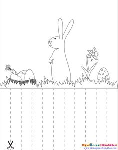 Hide the rabbit's eggs in the grass Cutting Activities, Activities For Boys, Educational Activities, Cutting Practice, Math Books, Kindergarten Worksheets, Painting For Kids, Preschool Activities, Art Lessons