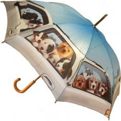 Puppy Road Trip Umbrella...so cute! Available @ www.let-it-rain.com