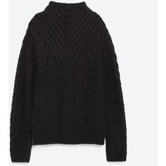 Zara Cable Knit Sweater (€44) ❤ liked on Polyvore featuring tops, sweaters, black, black cable knit sweater, black cable sweater, cable knit sweater, cable sweater and black sweater