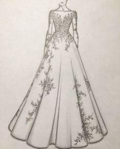 For order booking Please email Source by nivetasdesignstudio dresses drawing Dress Design Drawing, Dress Design Sketches, Art Drawings Sketches Simple, Fashion Design Drawings, Fashion Sketches, Portrait Sketches, Sketch Art, Drawing Tips, Fashion Drawing Dresses