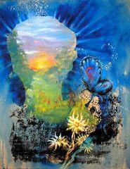 anil repouso sobre edelweiss - silk e acrilica s tela - 42x 52 cm - 2003