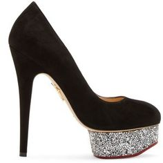 Charlotte Olympia Black Suede Limited Edition Swarovski Dolly Pumps Fall 2014 #Shoes #Heels