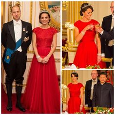 It looks like Kate might be wearing the same dress that she wore to a state dinner last year. What do you think? #NEW #katemiddleton #princewilliam