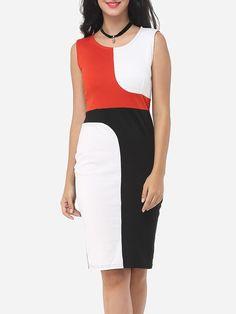 #Fashionmia - #Fashionmia Color Block Captivating Round Neck Bodycon-dress - AdoreWe.com