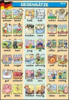 German for Beginners Deutsch für Anfänger: German most used adjectives Study German, German English, German Grammar, German Words, German Language Learning, Language Study, German Resources, Deutsch Language, Germany Language