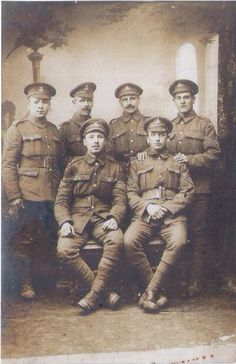 Sergeant, G/1278 James Cable Morris, sat on the right, who served in the 7th Battalion Royal West Kent Regiment.  The back of the postcard says,   'Somme B Boys with fondest love to Mother from Jim XXX France 4 - 4 - 17.'