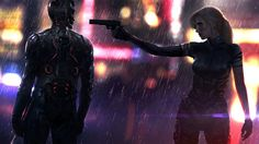 Download wallpaper gun, helmet, art, man, woman, cyberpunk, sword, rain, fantasy resolution 1920x1080