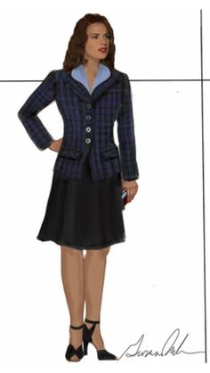 "Concept art of Peggy Carter in office outfit by Giovanna Ottobre-Melton from ABC's ""Agent Carter"" (2015).  In keeping with postwar fashions, less rationing of fabrics allow Peggy's outfits to have more volume."