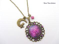 collier en verre bronze violet etoiles scintillantes collier bronze ...