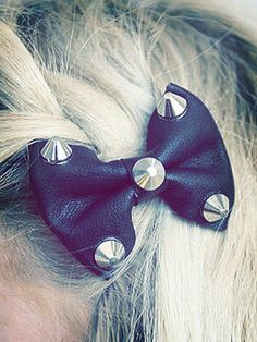 edgy hair bow, studs, hair accessories, leather