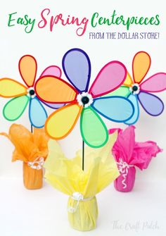 Colorful and easy spring party centerpieces with supplies from the dollar store! Party decor doesn't have to cost a lot!