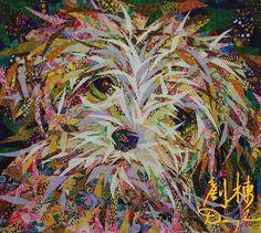 This quilt looks like Pojo Dog Quilts, Cat Quilt, Animal Quilts, Mini Quilts, Quilt Art, Art Quilting, Quilt Modernen, Landscape Quilts, Applique Quilts