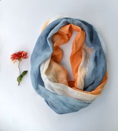 Blue and Orange Linen Scarf  Pure Linen Scarf  Long by lyralyra, $32.00