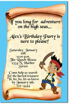 jake and the neverland pirates birthday cake | Jake and the Never Land Pirates Birthday Invitations, Candy Wrappers ...