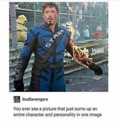 Tony Stark summed up in one picture - Marvel Fan Arts and Memes Marvel Jokes, Marvel Funny, Marvel Dc Comics, Marvel Heroes, Funny Comics, Marvel Avengers, Funny Avengers, Avengers Quotes, Tony Stark