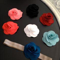 Baby Headband  Fleur Flower with by HarChloBandsAndBows on Etsy