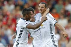 The Swede is congratulated by his Manchester United teammates after a fine solo…