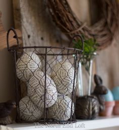 The North End Loft: Rustic Easter Mantle       Decoupages eggs