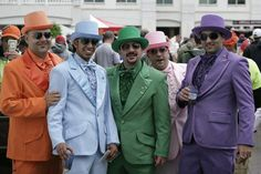 What ~ no seersucker ? BIg boys do it colorfully at the Derby. Kentucky Derby Mens Fashion, Kentucky Derby Time, Derby Day, Derby Attire, Thing 1, Mens Attire, Men Dress, Churchill Downs, Mad Hatters