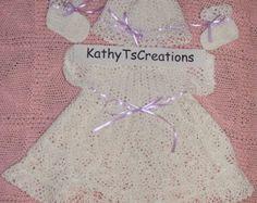 Vestido del ganchillo de bebé conjunto con margaritas :