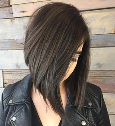 Angled Brunette Bob with V-cut Layers