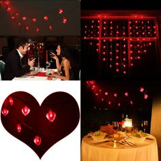 LEORX Valentine Heart Shaped String Lights - 10 Ft. Long, 20 Red Heart Lights, Flash or Steady-On Modes