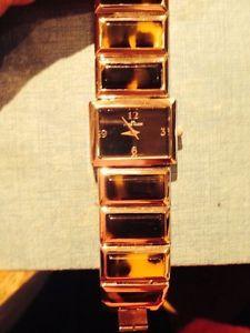 Anne Klein Womens 10 8381 Y 121 E Silvertone Tortoise Resin Bracelet Watch | eBay