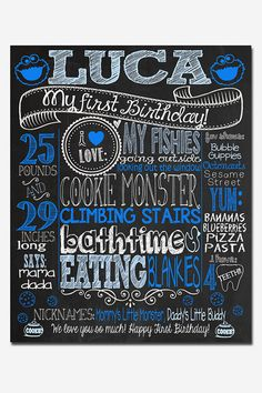 Cookie Monster Birthday Chalkboard Poster by CustomChalkPosters
