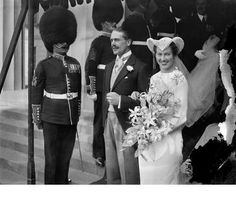 Bride 's unusual headdress at Welsh Guards wedding . Mr David Gwyn Davies Scoutfield of the Welsh Guards married to Elizabeth Close Brooks at the Guards Chapel , Wellington Barracks , London . 25 September 1935 Chapel Wedding, Wedding Ceremony, Wedding Day, Bride And Prejudice, St Brides, London Bride, Traditional Indian Wedding, Wedding Rituals, 25 September