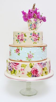 Romantic three tier wedding cake (by Amelia's House), hand painted to look like vintage china.