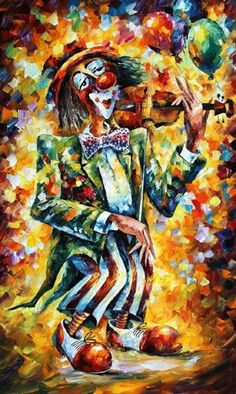 Clown Canvas Print by Leonid Afremov. All canvas prints are professionally printed, assembled, and shipped within 3 - 4 business days and delivered ready-to-hang on your wall. Choose from multiple print sizes, border colors, and canvas materials. Clowns, Oil Painting On Canvas, Canvas Art, Violin Painting, Painting Art, Clown Paintings, Oil Paintings, Original Art, Original Paintings