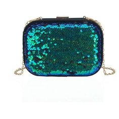 Green Blue Iridescent Sequin Clutch Bag by LYDC found on Polyvore featuring bags, handbags, clutches, party purses, green handbags, blue handbags, blue purse and sequin handbags