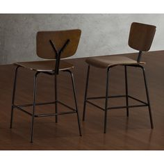 These Reed counter stools feature an updated school house look with a steel frame and wood seats and backs. These counter stools are sturdy, fully assembled and come with non-mar adjustable foot glides.