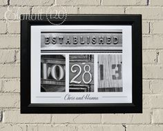 Unframed Number Photography - Wedding Date Numbers, Personalized Wedding or Anniversary Gift Idea, 11x14 Print. $29.99, via Etsy.