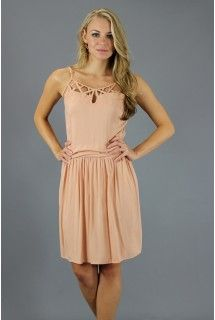 Jack by BB Dakota: Light Pink Leticia Dress   - Available at www.shop312.com -   This soft pink dress made by Jack by BB Dakota has a keyhole with crisscross detailing at the neck and banding around the subtly pleated waist. Adjustable spaghetti straps. Invisible side zipper closure.