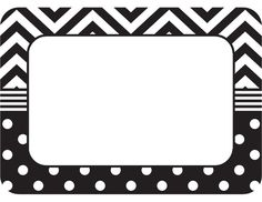 Black & White Chevrons and Dots Name Tags/Labels (TCR5548) « Products…