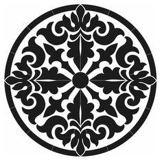 Baroque Medallion Porcelain Swimming Pool Mosaic x Stencil Patterns, Stencil Designs, Pattern Art, Mandala Art, Mandala Design, Mosaic Art, Mosaic Glass, Mosaic Tiles, Stencils