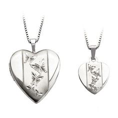 Mother and Daughter Matching Heart with Butterfly Locket and Pendant Set in Sterling Silver