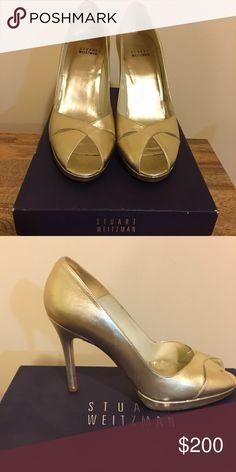 7266f4308fa Stuart Weitzman Gold Heels Stuart Weitzman gold open toed heeled sandal.  Only worn once to