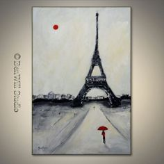 Original EIFFEL TOWER Painting PARIS France - Contemporary Art Black White Red Abstract Figurative Art on Gallery Canvas 36x24 by BenWill. $290.00, via Etsy.